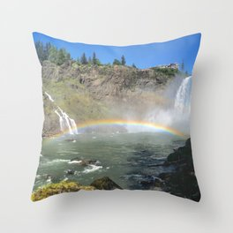 Rainbow at Snoqualmie Falls Throw Pillow
