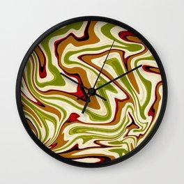 Green and Brown Liquid Abstract  Wall Clock