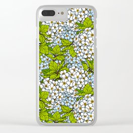 White Spirea Blossoms & Leaves Clear iPhone Case