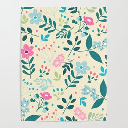 Colorful Floral Pattern - Beige Poster
