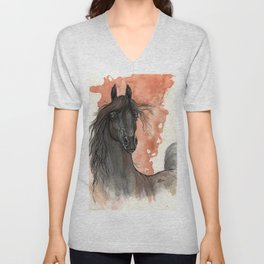 Black horse Unisex V-Neck