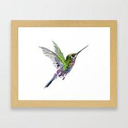 Flying Bird hummingbird, green minimalist bird art design Framed Art Print