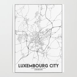 Minimal City Maps - Map Of Luxembourg City, Luxembourg. Poster