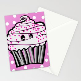 Cute Cupcake In Pink Stationery Cards