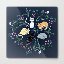 Garden Kitties Metal Print