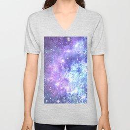 Grunge Galaxy Lavender Periwinkle Blue Unisex V-Neck