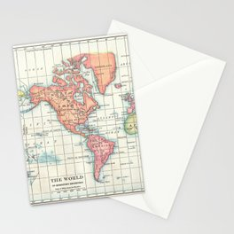 World Map - Colorful Continents Stationery Cards