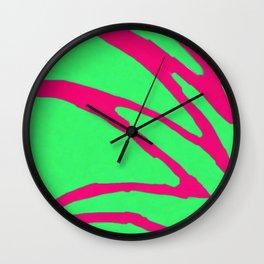 Green Pink Pattern Wall Clock