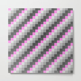 Pink Gray Checkers / CHeckerboaRD Metal Print