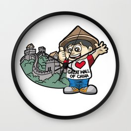 I LOVE GREAT WALL OF CHINA Chinese Fan Vacation Wall Clock