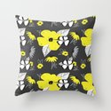 Yellow and Black Drawn Flowers on Gray by thestephlloyd