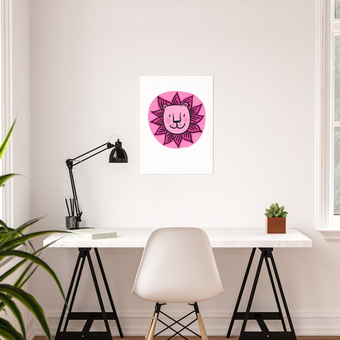 Pink lion face Poster