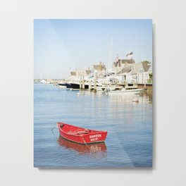 Vibrant Red Boat in Nantucket Harbor Metal Print