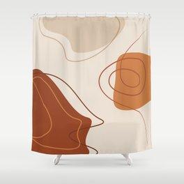 42118-10-2, Burnt Orange, Brown & Beige, Abstract Geometric Shape Line Art, Trendy home decor, Shower Curtain