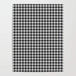 Friendly Houndstooth Pattern, black and white Poster