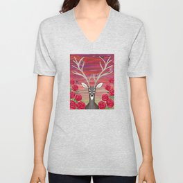 white tailed deer, spiders, roses Unisex V-Neck