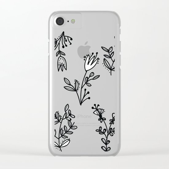 Floral White Pattern Clear iPhone Case