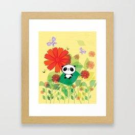 panda and flowers Framed Art Print
