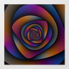 Spiral Labyrinth in Blue Orange and Pink Canvas Print