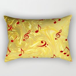 red music notes in golden festive paper background Rectangular Pillow