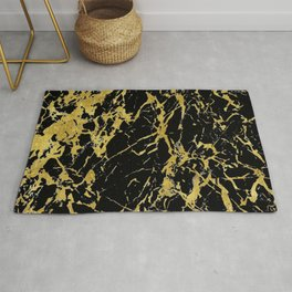 marble black gold Rug