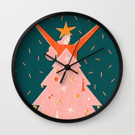 Christmas tree dress Wall Clock