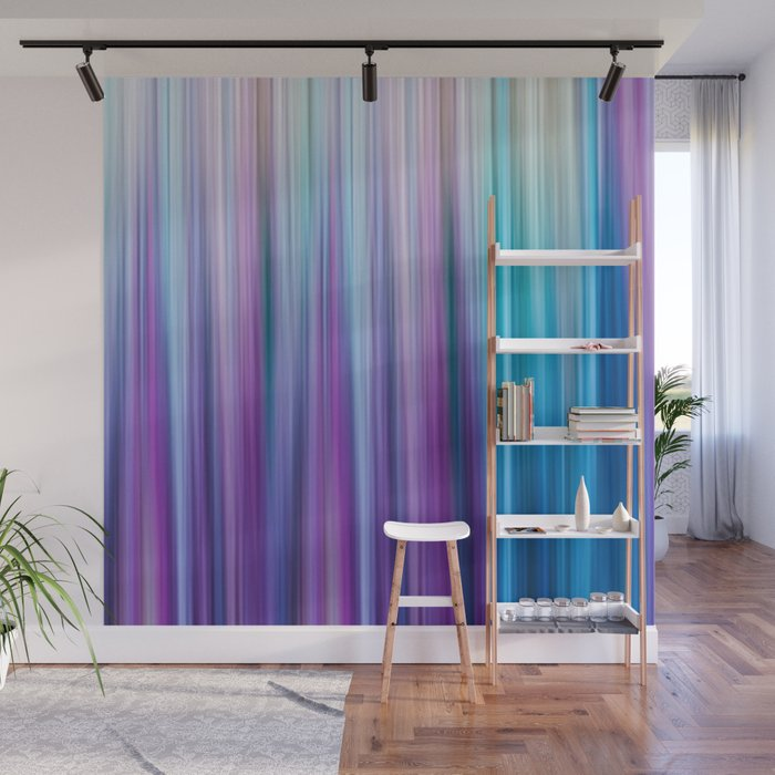 Abstract Purple and Teal Gradient Stripes Pattern Wall Mural