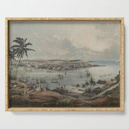 Vintage Pictorial Map of Havana Cuba (1851) Serving Tray