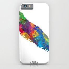 Aruba Watercolor Map iPhone Case