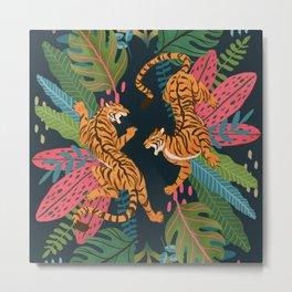 Jungle Cats - Roaring Tigers Metal Print