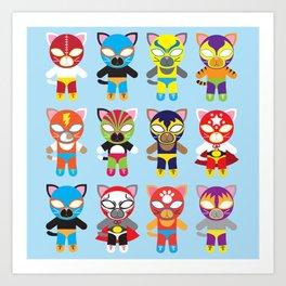 Luchador Cats Art Print