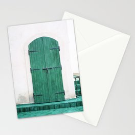 Le Jardin Secret   Turquoise wooden door in Marrakech   Colorful travel photograph wanderlust Stationery Cards