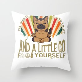 Funny German Shepard Yoga I'm Mostly Peace Love and Light graphic Throw Pillow