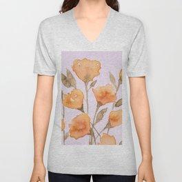 Coral Floral Unisex V-Neck
