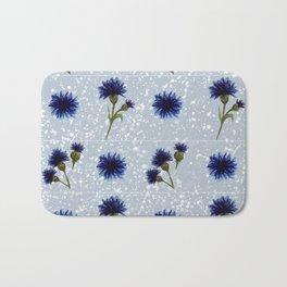 Blue cornflower watercolor pattern Bath Mat
