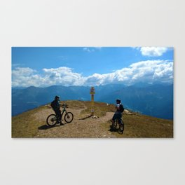 mountain bike frommes trail alps serfaus fiss ladis tyrol austria europe Canvas Print
