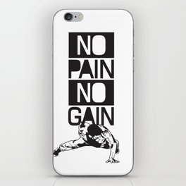 Gym Quote: No Pain No Gain. Workout Motivation, Push Up Man iPhone Skin
