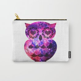 Girly Retro Heart Owl Pink Teal Nebula Galaxy Carry-All Pouch