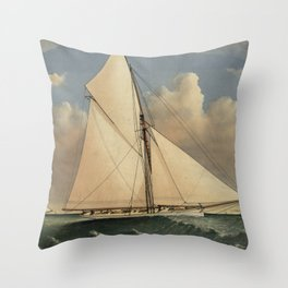 Vintage Boston Yacht - Puritan - Illustration (1885) Throw Pillow