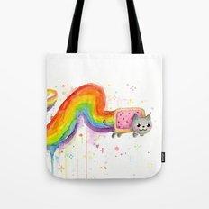 Rainbow Cat Meme Geek Whimsical Animal Painting Tote Bag