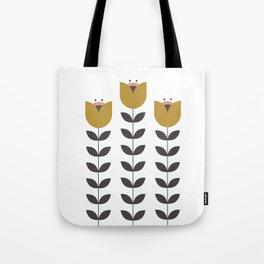 3 Tulips - Mustard, Pink & Grey Tote Bag