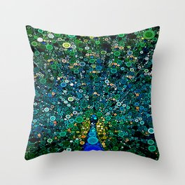 :: Peacock Caper :: Throw Pillow