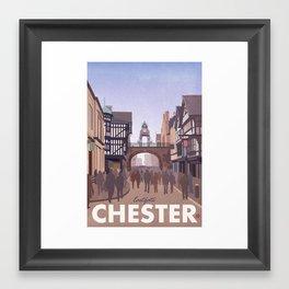 Retro Style Travel Poster - Chester Eastgate Clock Framed Art Print