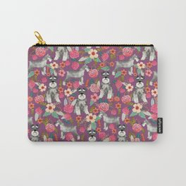 Schnauzer floral dog breed must have gifts for schnauzers Carry-All Pouch