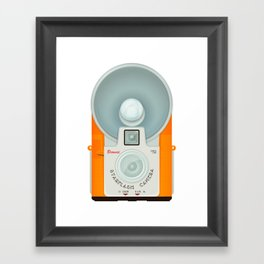 VINTAGE CAMERA ORANGE Framed Art Print