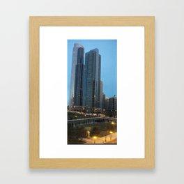 Chicago Skyline, Skyscrapers, Sunset Framed Art Print