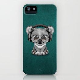 Cute Baby Koala Bear Dj Wearing Headphones on Blue iPhone Case