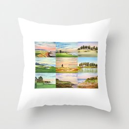 Famous Golf Courses In The USA Collage Throw Pillow