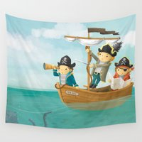pirates Wall Tapestries featuring Pirates! by Joy Paton