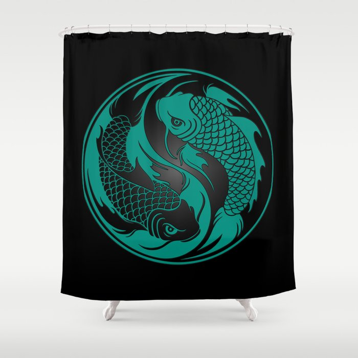Teal Blue And Black Yin Yang Koi Fish Shower Curtain By Jeffbartels